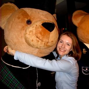 Bear hug in Harrod's.