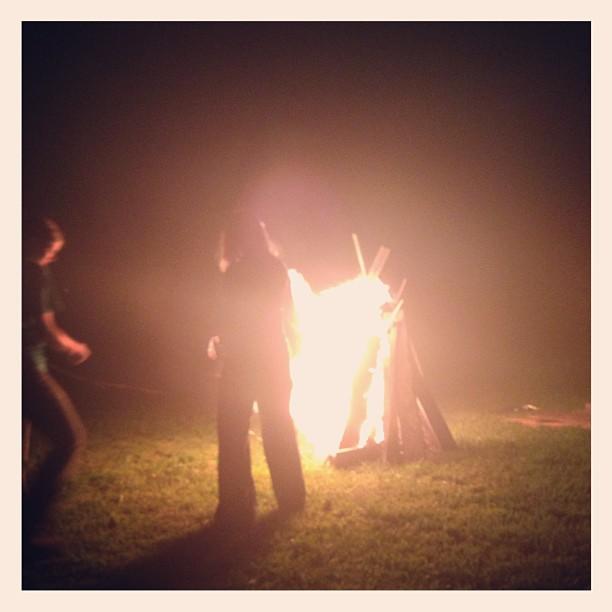Family bonding around the bonfire